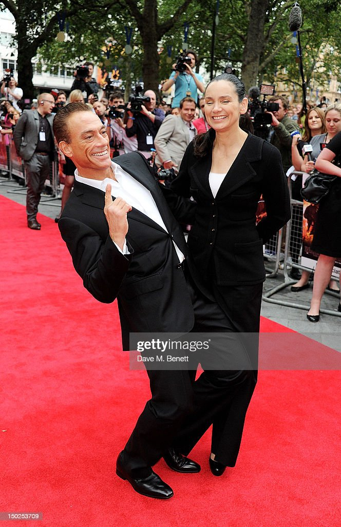 Actor <a gi-track='captionPersonalityLinkClicked' href=/galleries/search?phrase=Jean-Claude+Van+Damme&family=editorial&specificpeople=566465 ng-click='$event.stopPropagation()'>Jean-Claude Van Damme</a> (L) and <a gi-track='captionPersonalityLinkClicked' href=/galleries/search?phrase=Gladys+Portugues&family=editorial&specificpeople=3205735 ng-click='$event.stopPropagation()'>Gladys Portugues</a> attend the UK Film Premiere of 'The Expendables 2' at Empire Leicester Square on August 13, 2012 in London, United Kingdom.