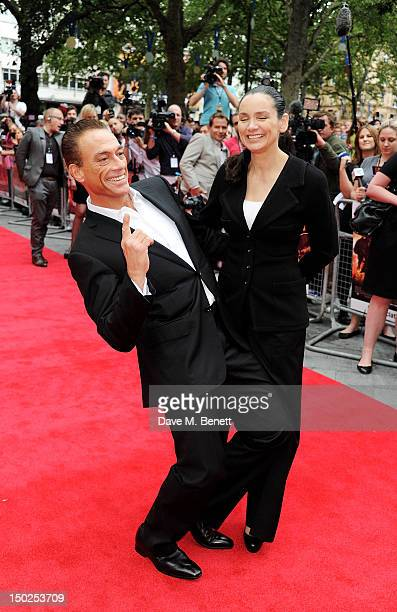 Actor JeanClaude Van Damme and Gladys Portugues attend the UK Film Premiere of 'The Expendables 2' at Empire Leicester Square on August 13 2012 in...