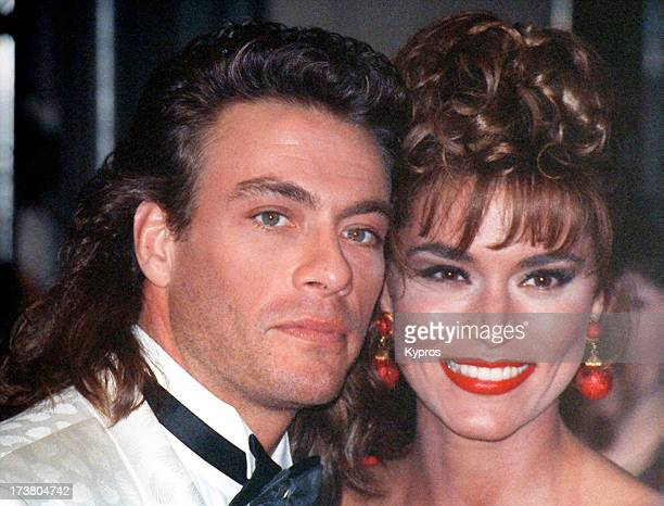 Actor JeanClaude Van Damme and model Darcy LaPier attend the 50th Annual Golden Globe Awards at the Beverly Hilton Hotel in Beverly Hills California...