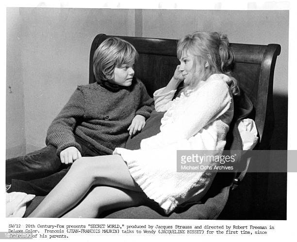 Actor JeanFrancois Maurin and actress Jacqueline Bisset on set of the 20th CenturyFox movie 'Secret World' in 1969