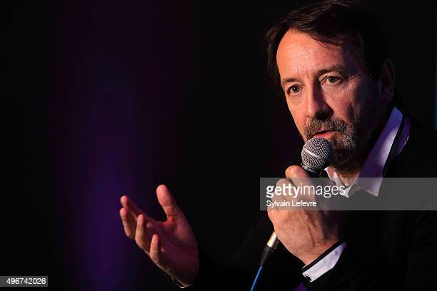 Actor JeanHugues Anglade speaks during press conference at the screening of the film 'Je suis un soldat' during Arras Film Festival on November 11...