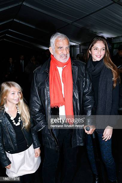 Actor JeanPaul Belmondo with his daughter Stella Belmondo and his granddaughter Annabel Waters Belmondo attend 'Silvia' show from 'Cirque Alexis...