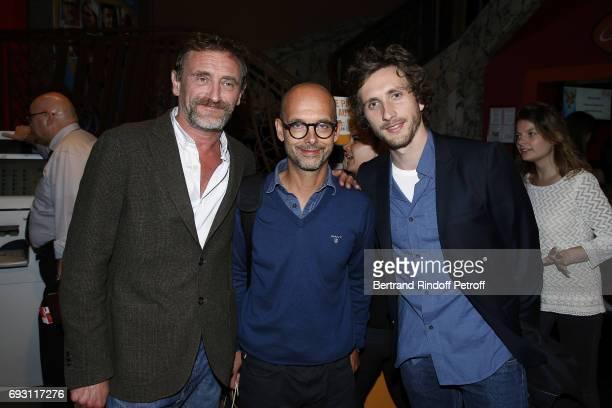 Actor JeanPaul Rouve Director Maurice Barthelemy and Actor Baptiste Lecaplain attend 'les Ex' Paris Premiere at Cinema Gaumont Capucine on June 6...
