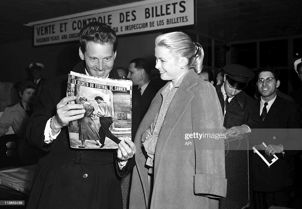 Actor Jean-Pierre Aumont and actress <a gi-track='captionPersonalityLinkClicked' href=/galleries/search?phrase=Grace+Kelly+-+Actress&family=editorial&specificpeople=70044 ng-click='$event.stopPropagation()'>Grace Kelly</a> during Cannes Film Festival