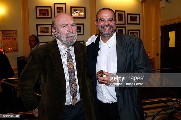 Actor JeanPierre Marielle and Decorator of the Piece Nicolas Sire attend 'Le Mensonge' Theater Play Held at Theatre Edouard VII on September 14 2015...