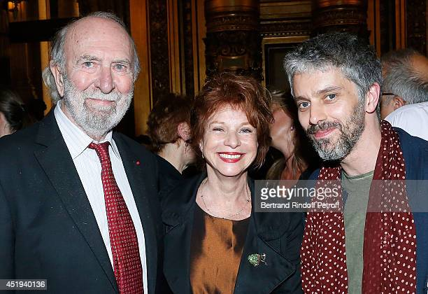 Actor JeanPierre Marielle his wife Agathe Natanson and James Thierree attend ballet dancer Nicolas Le Riche's last performance at Opera Garnier on...