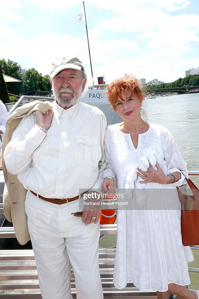 Actor <a gi-track='captionPersonalityLinkClicked' href=/galleries/search?phrase=Jean-Pierre+Marielle&family=editorial&specificpeople=573642 ng-click='$event.stopPropagation()'>Jean-Pierre Marielle</a> with his wife actress Agathe Natanson attend 'Brunch Blanc' hosted by Groupe Barriere for Sodexho with a cruise in Paris on June 30, 2013, France.