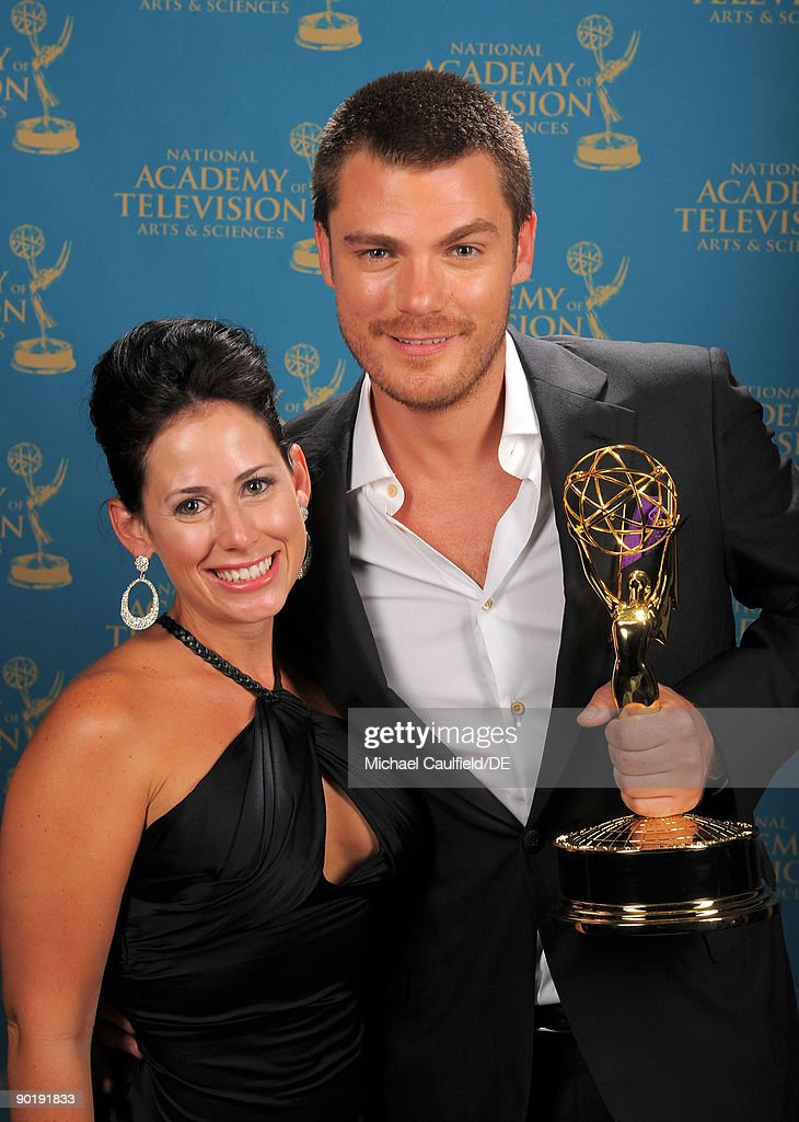 Actor Jeff Branson (R) winner of the Emmy for Outstanding Supporting Actor in a Drama Series poses for a portrait at the 36th Annual Daytime Emmy Awards at The Orpheum Theatre on August 30, 2009 in Los Angeles, California.