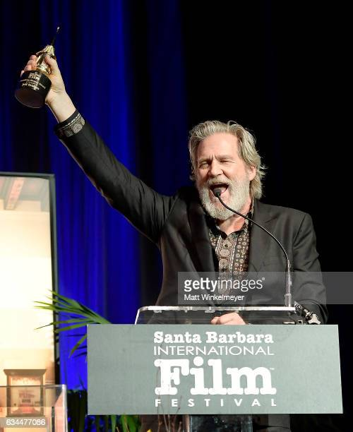Actor Jeff Bridges accepts the American Riviera Award onstage at the Arlington Theatre on February 9 2017 in Santa Barbara California