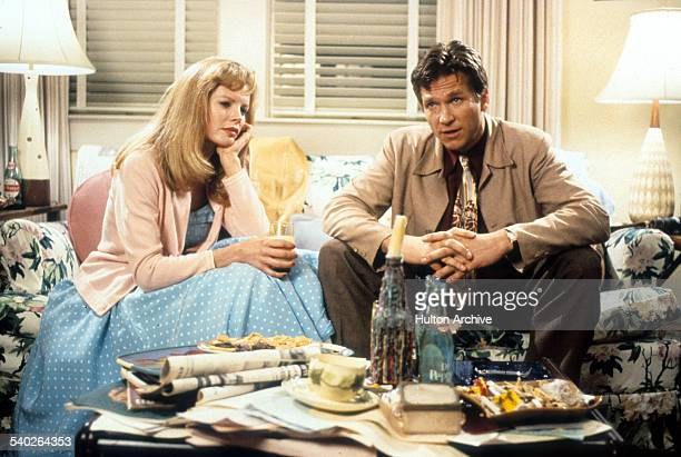 Actor Jeff Bridges and actress Kim Basinger on the set of the movie ' Nadine' in 1987