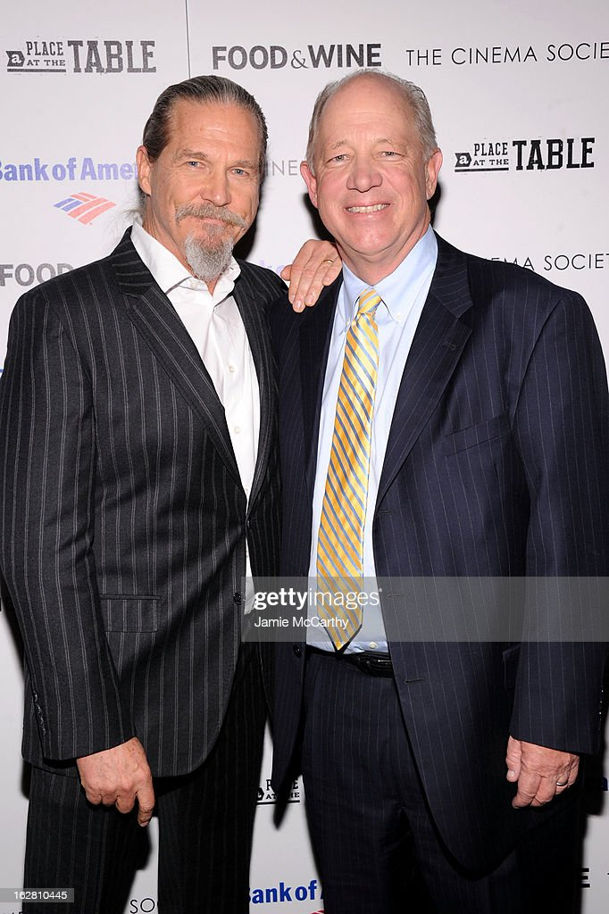 Actor <a gi-track='captionPersonalityLinkClicked' href=/galleries/search?phrase=Jeff+Bridges&family=editorial&specificpeople=201735 ng-click='$event.stopPropagation()'>Jeff Bridges</a> and Bill Shore attend the Bank of America and Food & Wine with The Cinema Society screening of 'A Place at the Table' at Museum of Modern Art on February 27, 2013 in New York City.