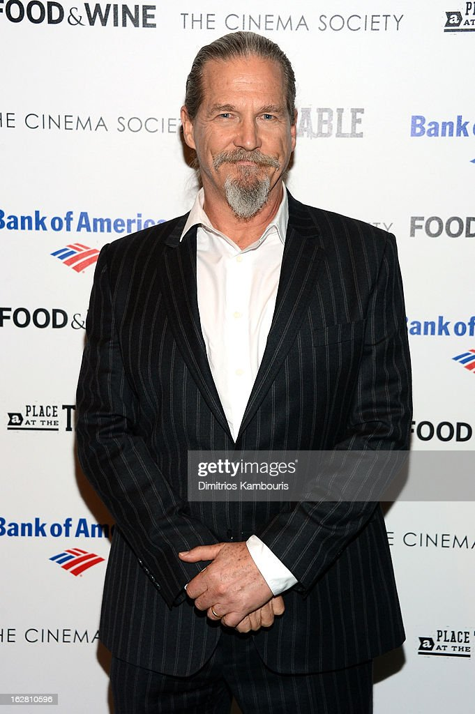 Actor <a gi-track='captionPersonalityLinkClicked' href=/galleries/search?phrase=Jeff+Bridges&family=editorial&specificpeople=201735 ng-click='$event.stopPropagation()'>Jeff Bridges</a> attends the Bank of America and Food & Wine with The Cinema Society screening of 'A Place at the Table' at Museum of Modern Art on February 27, 2013 in New York City.