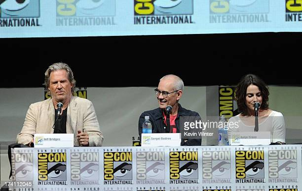 Actor Jeff Bridges director Sergey Bodrov and actress Antje Traue speak onstage at the Warner Bros and Legendary Pictures preview of 'Seventh Son'...