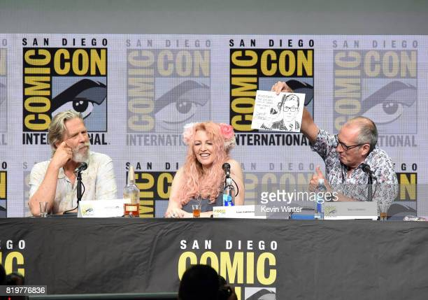 Actor Jeff Bridges screenwriter Jane Goldman and writer/executive producer Dave Gibbons speak onstage at the 20th Century FOX panel during ComicCon...