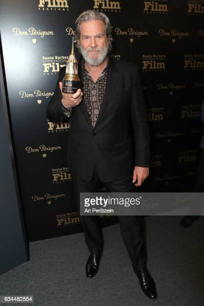 Actor Jeff Bridges visits the Dom Perignon Lounge after receiving the Riviera Award at The Santa Barbara International Film Festival on February 9...