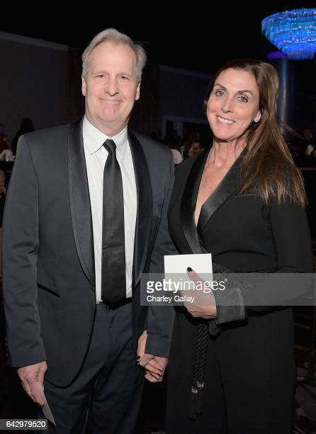 Actor Jeff Daniels and Kathleen Rosemary Treado attend the 2017 Writers Guild Awards LA Ceremony at The Beverly Hilton Hotel on February 19 2017 in...