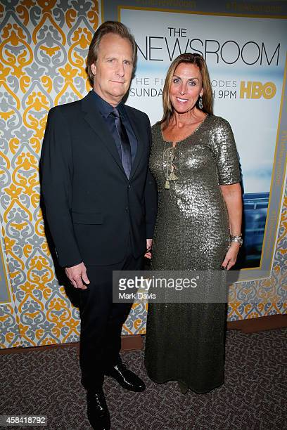 Actor Jeff Daniels and Kathleen Rosemary Treado attend the Premiere of HBO's 'The Newsroom' Season 3 at Directors Guild Of America on November 4 2014...