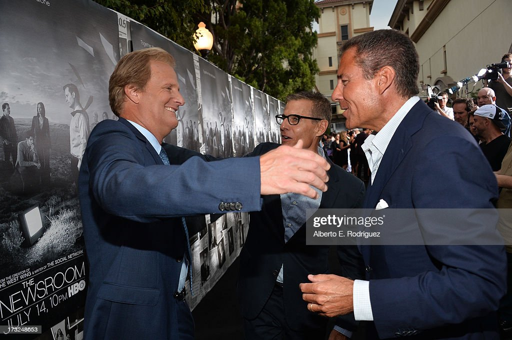 Actor Jeff Daniels, HBO Programming President Michael Lombardo and actress Oivia Munn arrive for the premiere of HBO's 'The Newsroom' Season 2 at Paramount Theater on the Paramount Studios lot on July 10, 2013 in Hollywood, California.