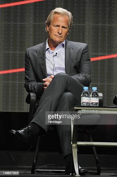 Actor Jeff Daniels speaks onstage during the HBO Summer 2012 TCA Panel at The Beverly Hilton Hotel on August 1 2012 in Beverly Hills California