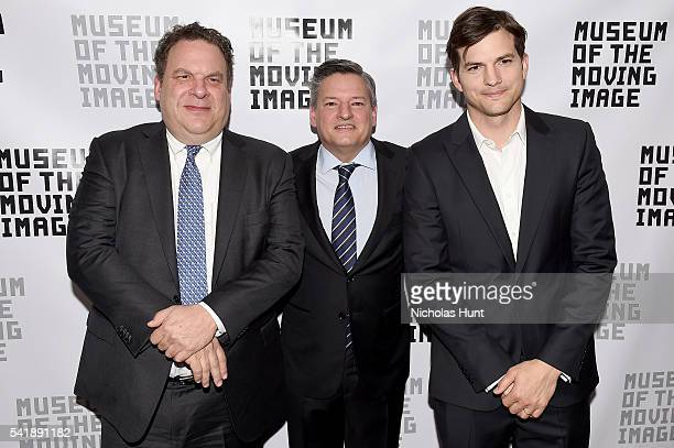 Actor Jeff Garlin Netflix Chief Content Officer Ted Sarandos and Ashton Kutcher attend the Museum of the Moving Image honoring Netflix Chief Content...