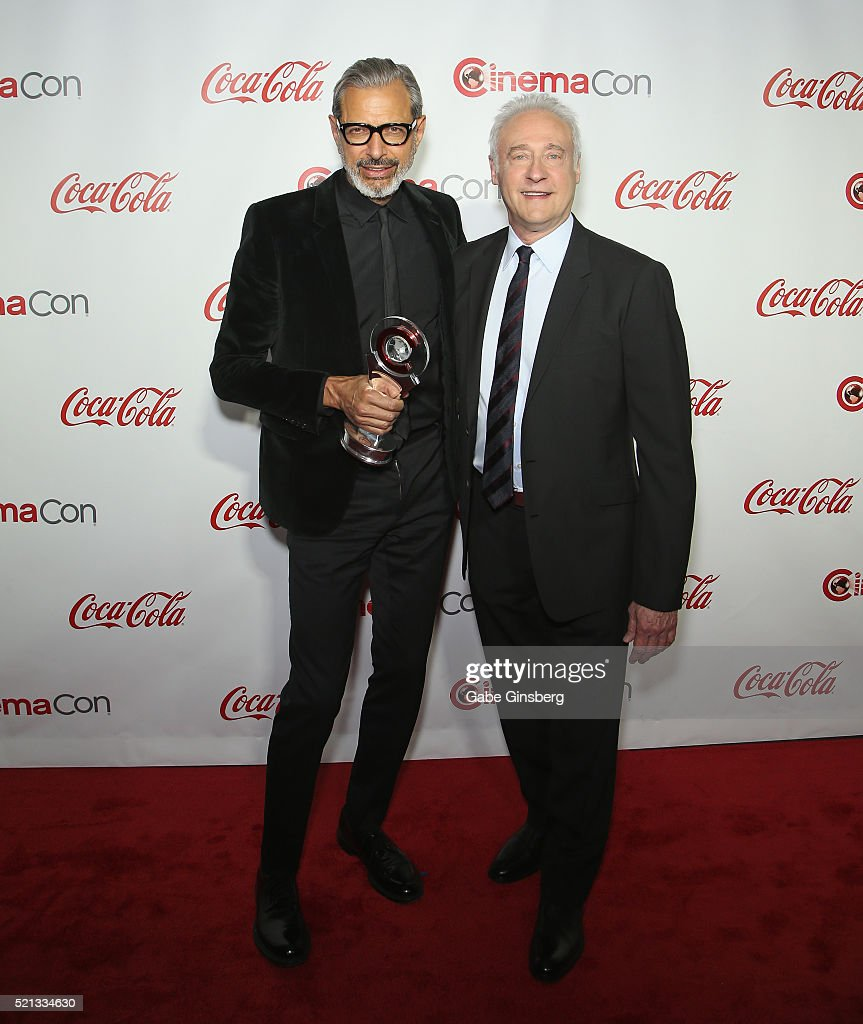Actor Jeff Goldblum and Brent Spiner recipients of the Ensemble of the Universe Award for 'Independence Day Resurgence' attend the CinemaCon Big...