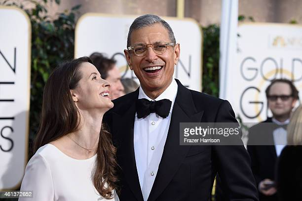 Actor Jeff Goldblum and Emilie Livingston attend the 72nd Annual Golden Globe Awards at The Beverly Hilton Hotel on January 11 2015 in Beverly Hills...