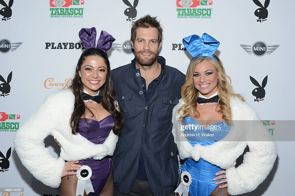 Actor Jeff Stoltz (C) and Playboy Playmates Pilar Lastra and Nikki Leigh attend The Playboy Party Presented by Crown Royal on February 1, 2013 in New Orleans, Louisiana.