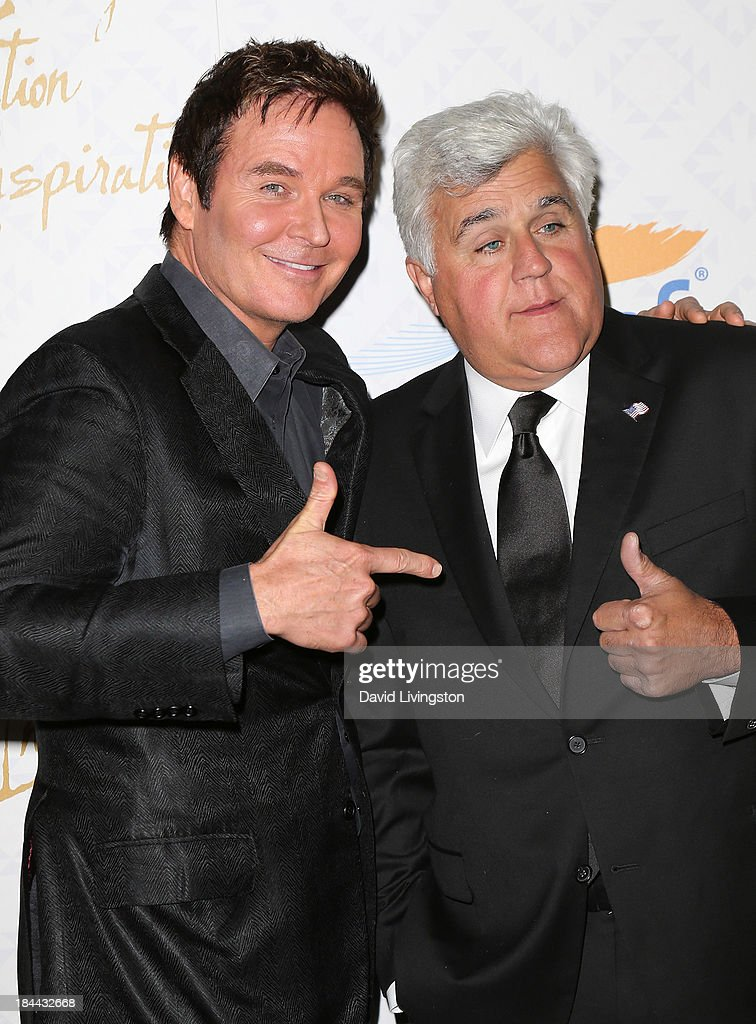 Actor Jeff Trachta (L) and TV host Jay Leno attend the 10th Annual Alfred Mann Foundation Gala in the Robinsons-May Lot on October 13, 2013 in Beverly Hills, California.