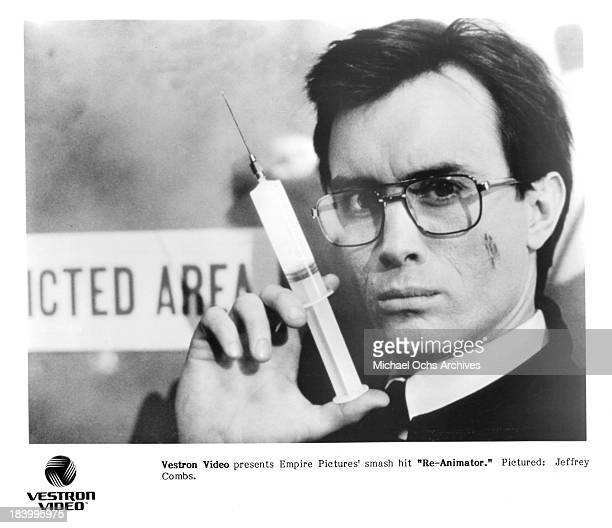 Actor Jeffrey Combs as mad scientist Herbert West on set of the Empire Pictures movie 'ReAnimator' in 1985