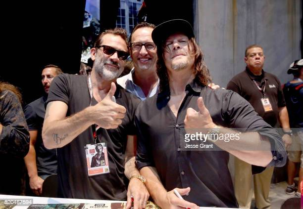 Actor Jeffrey Dean Morgan AMC President General Manager Charlie Collier and actor Norman Reedus from 'The Walking Dead' at San Diego ComicCon...