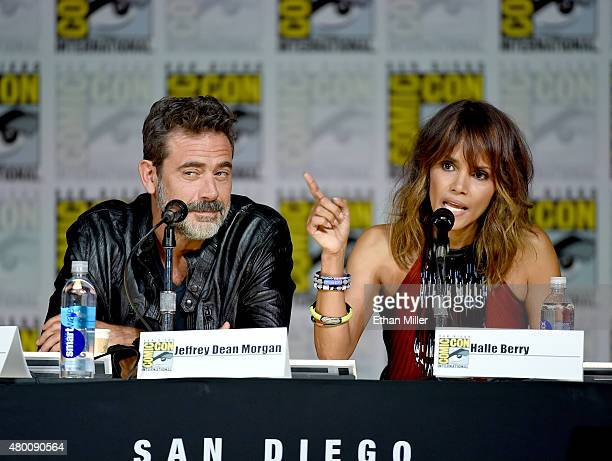 Actor Jeffrey Dean Morgan and actress Halle Berry speak onstage during the CBS TV Studios' panel for 'Extant' during ComicCon International 2015 at...