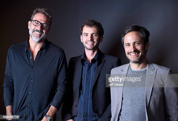 Actor Jeffrey Dean Morgan writer/director Jonas Cuaron and actor Gael Garcia Bernal from 'Desierto' pose for a portrait during the 2015 Toronto...