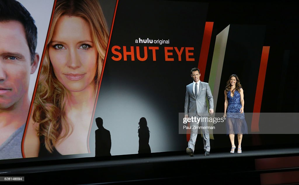 Actor <a gi-track='captionPersonalityLinkClicked' href=/galleries/search?phrase=Jeffrey+Donovan&family=editorial&specificpeople=767727 ng-click='$event.stopPropagation()'>Jeffrey Donovan</a> and Actress KaDee Strickland of Shut Eye speak onstage at the 2016 Hulu Upftont on May 04, 2016 in New York, New York.