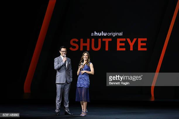 Actor Jeffrey Donovan and Actress KaDee Strickland of Shut Eye speak onstage at the 2016 Hulu Upftont on May 04 2016 in New York New York