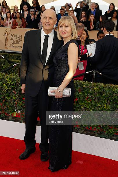 Actor Jeffrey Tambor and actress Kasia Ostlun attend the 22nd Annual Screen Actors Guild Awards at The Shrine Auditorium on January 30 2016 in Los...