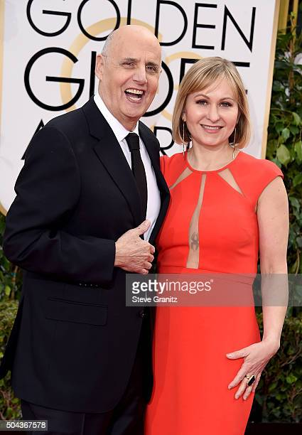 Actor Jeffrey Tambor and Kasia Ostlun attend the 73rd Annual Golden Globe Awards held at the Beverly Hilton Hotel on January 10 2016 in Beverly Hills...