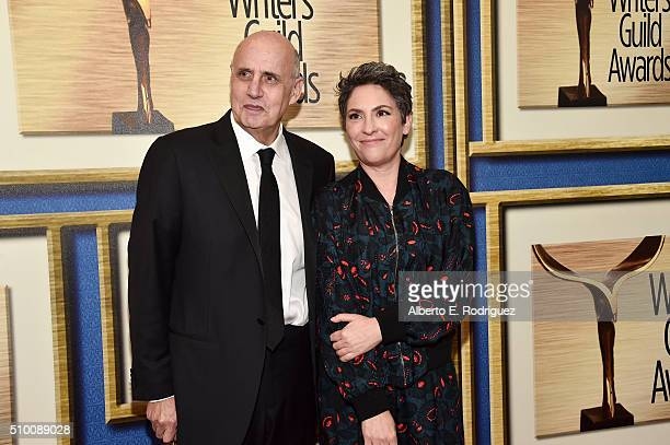Actor Jeffrey Tambor and writer/producer Jill Soloway attend the 2016 Writers Guild Awards at the Hyatt Regency Century Plaza on February 13 2016 in...