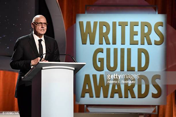Actor Jeffrey Tambor speaks onstage during the 2016 Writers Guild Awards at the Hyatt Regency Century Plaza on February 13 2016 in Los Angeles...