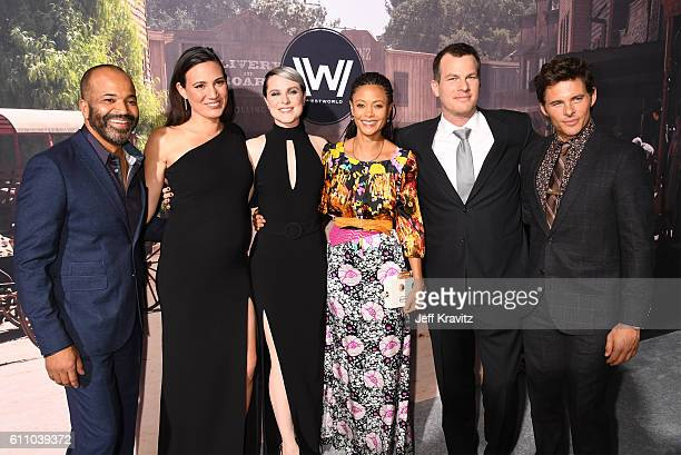 Actor Jeffrey Wright Executive producer/writer Lisa Joy actors Evan Rachel Wood Thandie Newton Executive producer/writer/director Jonathan Nolan and...