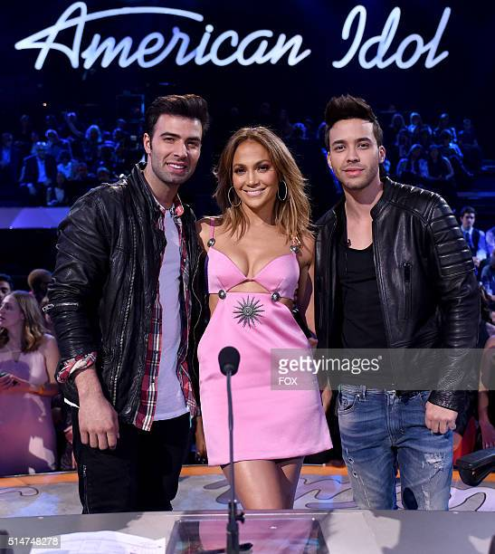 Actor Jencarlos Canela judge Jennifer Lopez and singer Prince Royce at FOX's American Idol Season 15 on March 10 2016 in Hollywood California