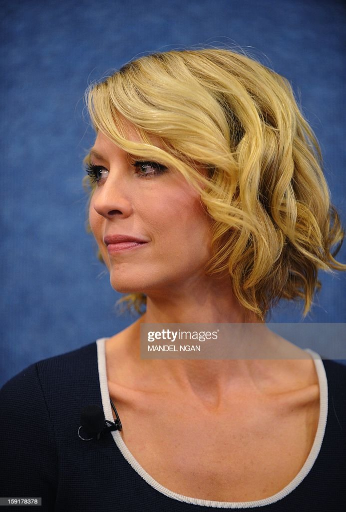 Actor Jenna Elfman is seen during a press conference with the cast and producers of NBC comedy '1600 Penn' on January 9, 2013 at the National Press Club in Washington, DC. AFP PHOTO/Mandel NGAN