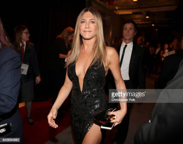 Actor Jennifer Aniston poses backstage during the 89th Annual Academy Awards at Hollywood Highland Center on February 26 2017 in Hollywood California