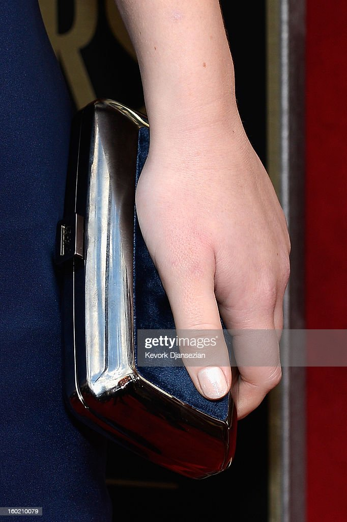 Actor Jennifer Lawrence (purse detail) arrives at the 19th Annual Screen Actors Guild Awards held at The Shrine Auditorium on January 27, 2013 in Los Angeles, California.