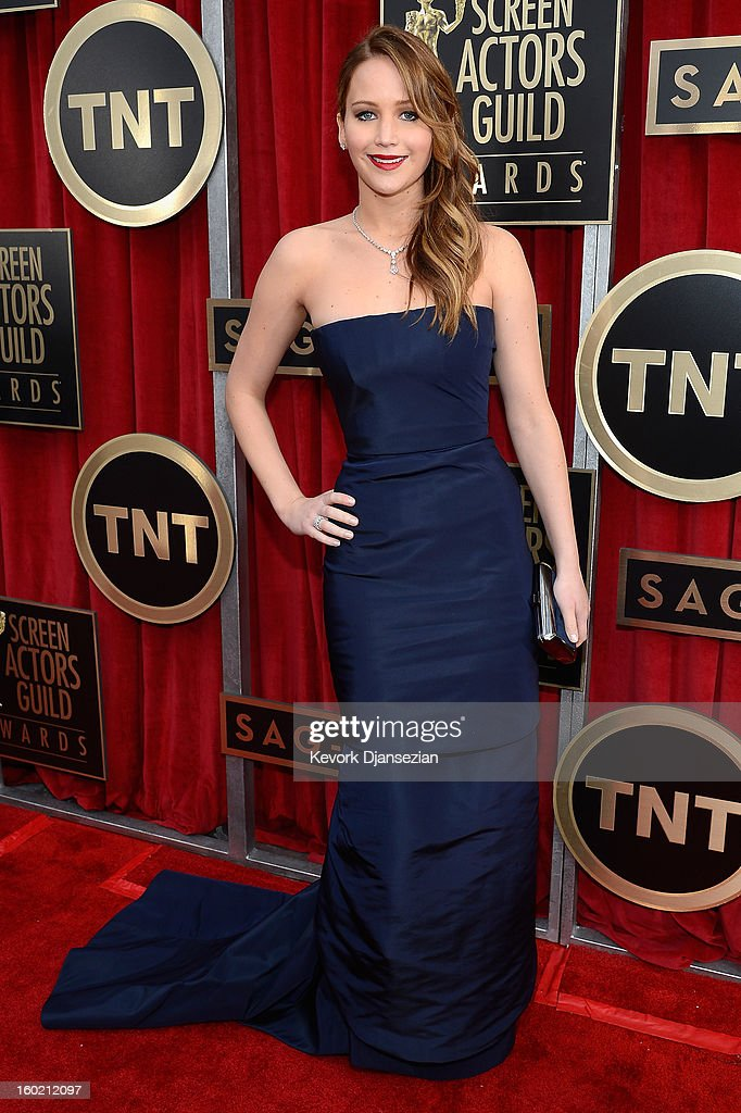 Actor Jennifer Lawrence arrives at the 19th Annual Screen Actors Guild Awards held at The Shrine Auditorium on January 27, 2013 in Los Angeles, California.