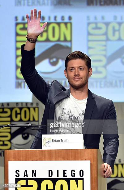 Actor Jensen Ackles attends CW's 'Supernatural' Panel during ComicCon International 2014 at San Diego Convention Center on July 27 2014 in San Diego...