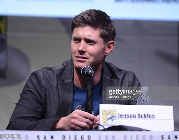 Actor Jensen Ackles speaks onstage at the 'Supernatural' special video presentation during ComicCon International 2013 at San Diego Convention Center...