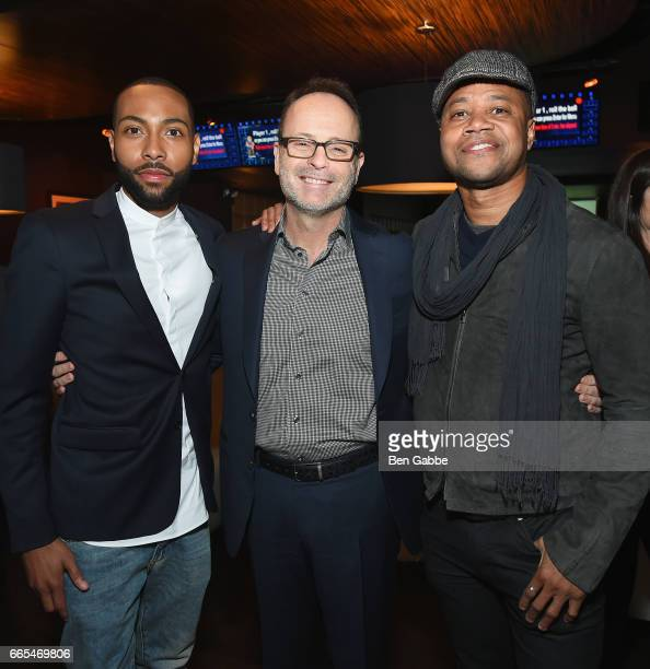 Actor Jeremie Harris president of FX Network John Landgraf and actor Cuba Gooding Jr attend 8th Annual FX AllStar bowling party at Lucky Strike on...