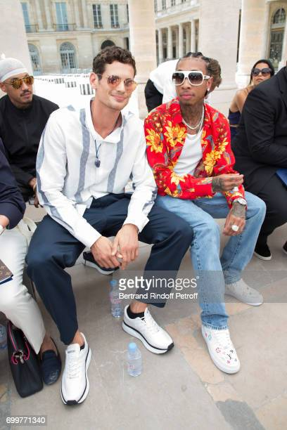 Actor Jeremie Laheurte and Rapper Tyga attend the Louis Vuitton Menswear Spring/Summer 2018 show as part of Paris Fashion Week on June 22 2017 in...