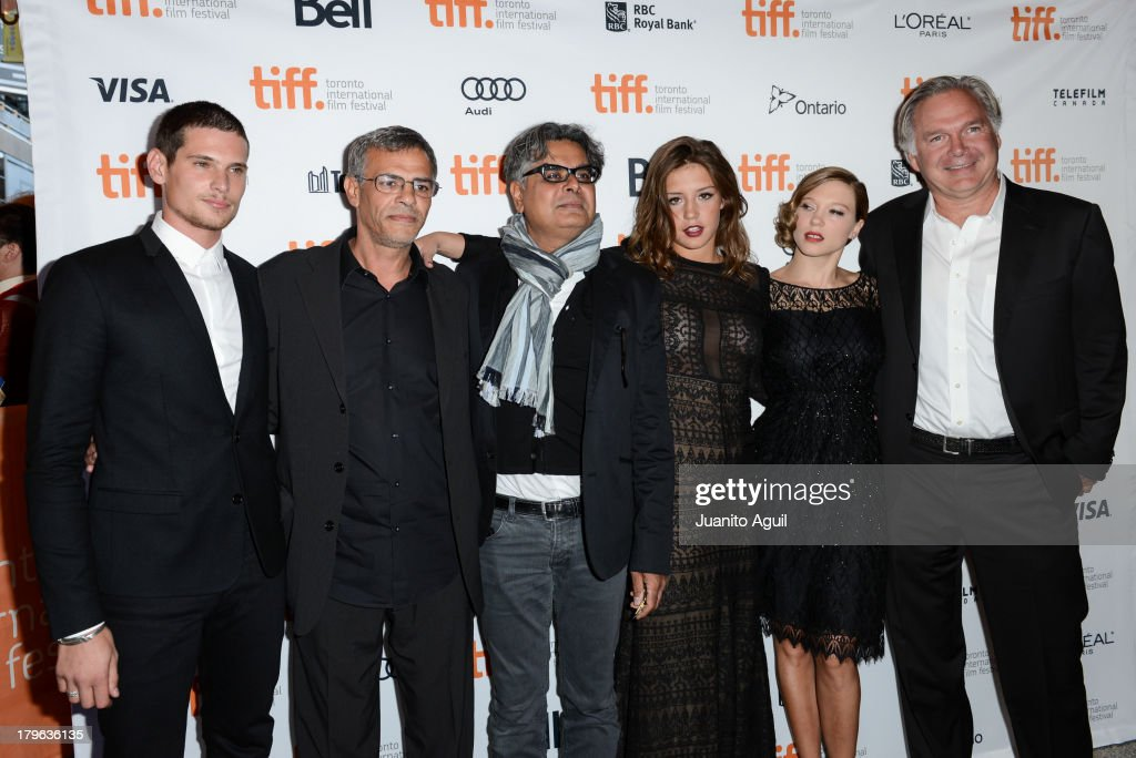 Actor Jeremie Laheurte, director Abdellatif Kechiche, President of Mongrel Media Hussain Amarshi, actress Adele Exarchopoulos, actress Lea Seydoux and President of Sundance Selects and IFC Films Jonathan Sehring attend the premiere of 'Blue is The Warmest Color' at Winter Garden Theatre on September 5, 2013 in Toronto, Canada.