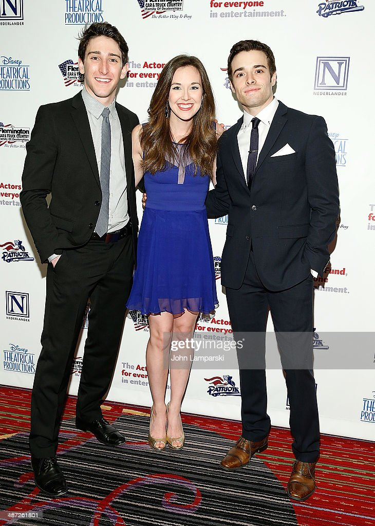 Actor Jeremy Greenbaum, actress Liana Hunt and actor <a gi-track='captionPersonalityLinkClicked' href=/galleries/search?phrase=Corey+Cott&family=editorial&specificpeople=9630117 ng-click='$event.stopPropagation()'>Corey Cott</a> attend after party for The Actors Fund Gala Celebrating 20 Years Of Disney On Broadway at The New York Marriott Marquis on April 28, 2014 in New York City.